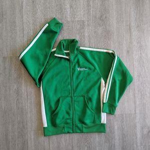 J. America MN's Green/White Zip-Up Jacket SZ L